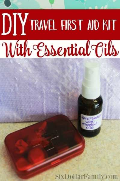 DIY Travel First Aid Kit + Homemade Hand Sanitizer - Put a little bit of nature in your purse! Put together a DIY travel first aid kit with essential oils! It's budget friendly, works great and safe for kids! Plus get an awesome homemade hand sanitizer recipe!