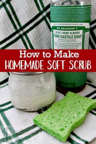How to Make Homemade Soft Scrub - Clean your bathroom naturally! This homemade soft scrub recipe is easy to make, cheap and simply amazing!