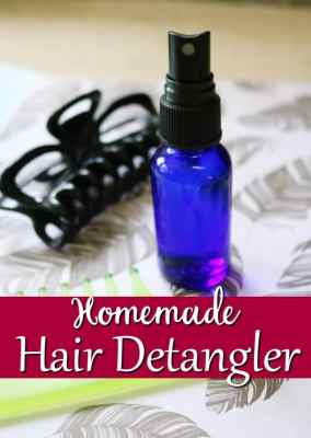 Homemade Hair Detangler - Skip the tears and try this instead! This homemade hair detangler gets rid of those nasty tangles while it shines and smooths at the same time! All natural and chemical free too!