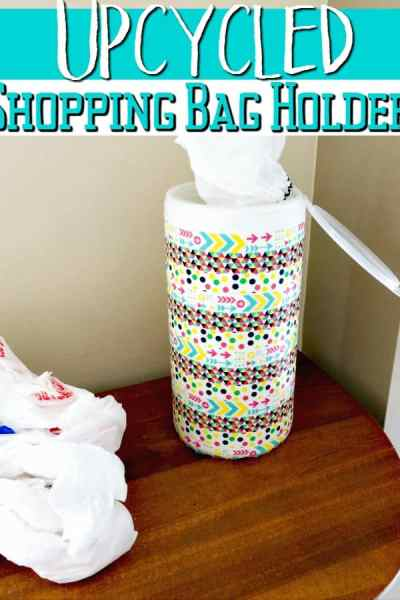 Keep those shopping bags under control with this super easy upcycled DIY craft! This DIY shopping bag holder is so simple to make even the kids can help!