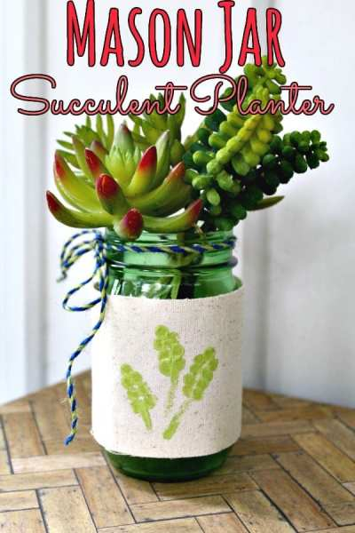 If you love doing mason jar crafts, you'll adore this upcycled mason jar succulent vase! This simple, budget friendly craft looks great in any home!