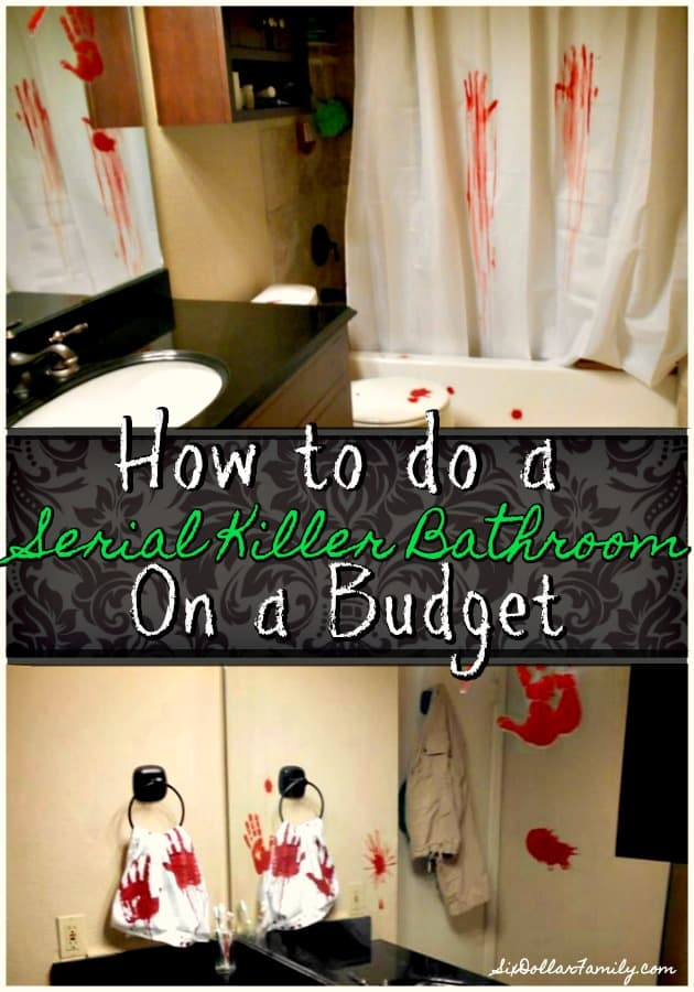 Creepy Halloween Decorations - Want to scare the pants off someone this Halloween? Give this DIY Serial Killer Bathroom Decor a shot! Super easy and easy on your budget!