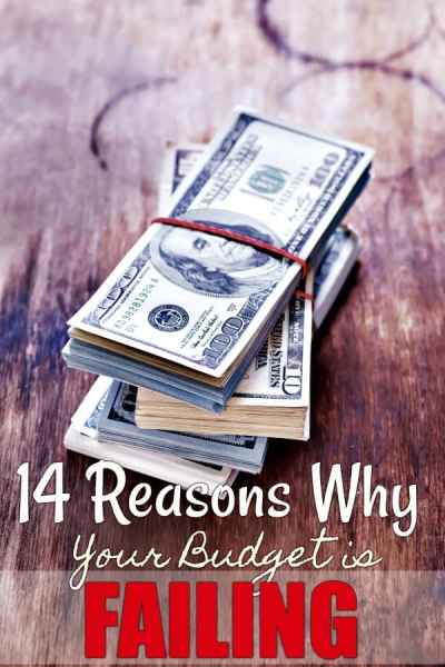 Tired of your household budget failing? These 14 reasons why your budget fails will teach you why it keeps happening and show you how to make your money work for you. A must-read for every family on a budget!
