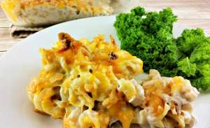 Ready for an amazing casserole recipe? The classic tuna casserole recipe is all grown up with sauteed mushrooms, Colby jack cheese, fried onions and more. You'll never turn your nose up at tuna noodle casserole again! Freezer friendly recipe too!