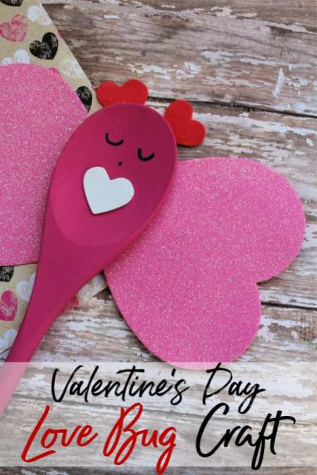 This wooden spoon love bug is a simple DIY Valentine's Day Gift idea from kids! Wooden spoon crafts are so easy and adorable when they're finished!