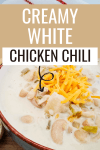 White chicken chili is the perfect bowl of yummy when you need a quick and easy dinner recipe for a cool fall night or a cold winters day! Thick and hearty, the chili ingredients come together to create a soup recipe that will warm both your body and your soul - all while filling your belly!