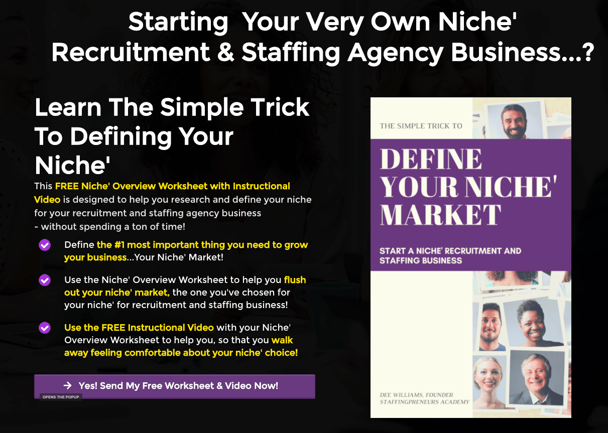 Free Worksheet Amp Video Define Your Niche Start A