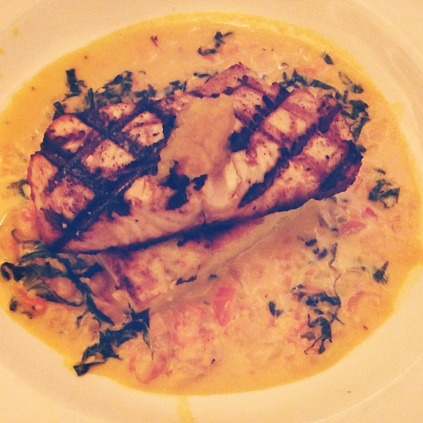Last night's dinner @ Casa di Amici -- grilled salmon over polenta