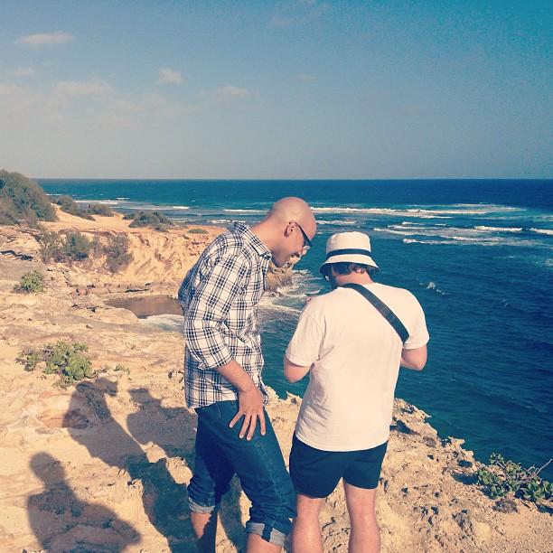 Philip and Matias looking at photos