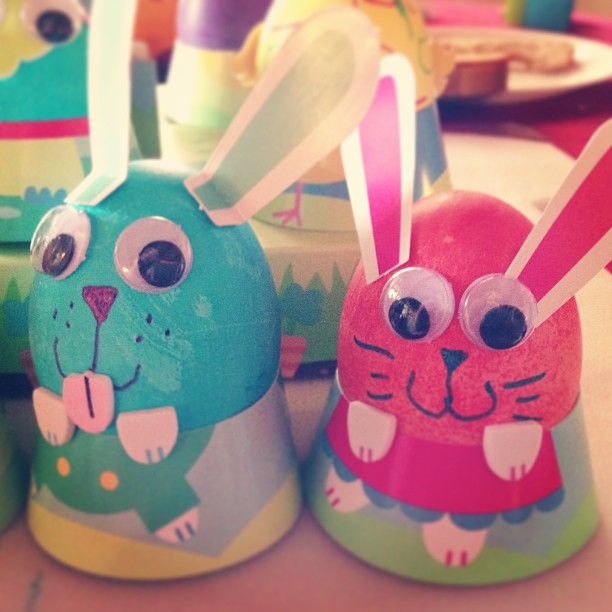Ellie and Gwen if they were bunnies made of eggs
