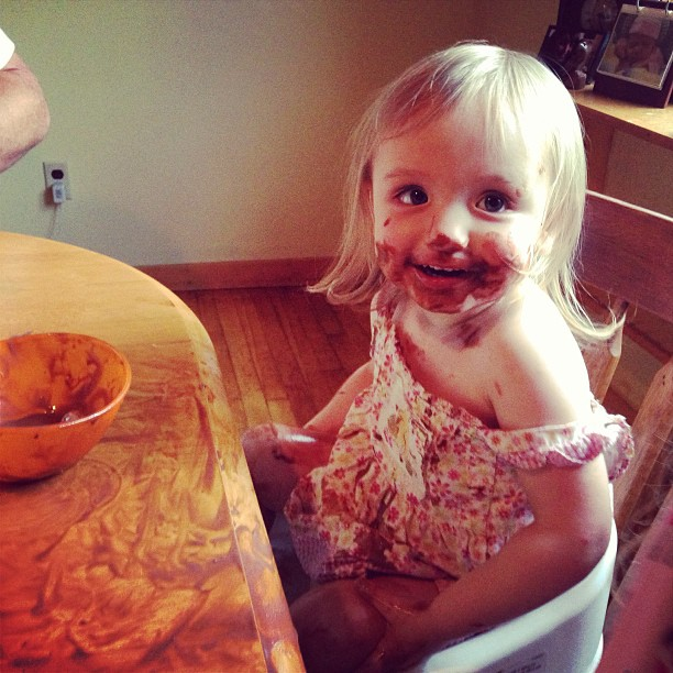 Chocolate ice cream tastes better when licked off the table
