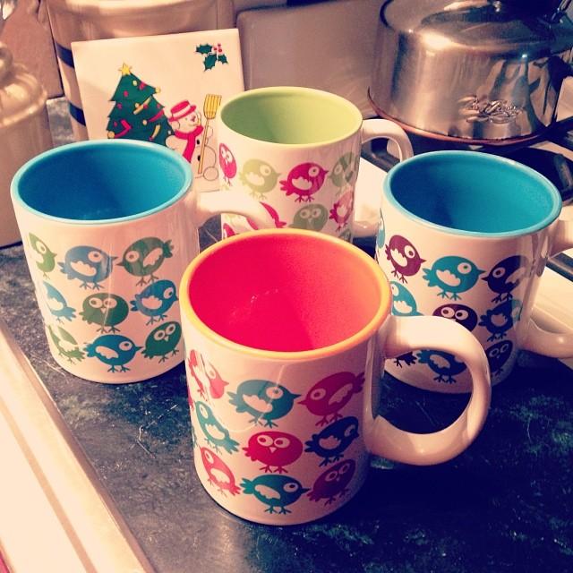 Mom's gift, a set of birdie mugs, design based on a favorite mug that I broke over Thanksgiving. :P