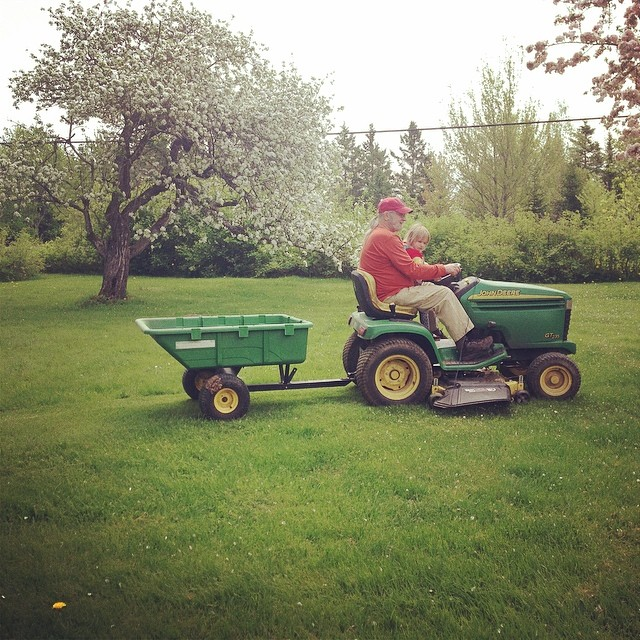 Mowing with Grampy