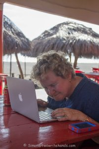 What a dedicated writer does at the beach