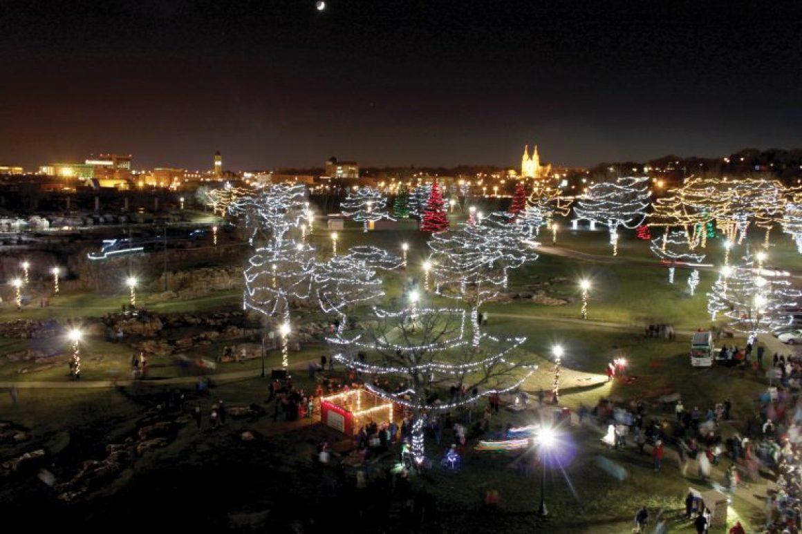 Falls Park at Night with Seasonal Lighting (courtesy of Sioux Falls CVB)