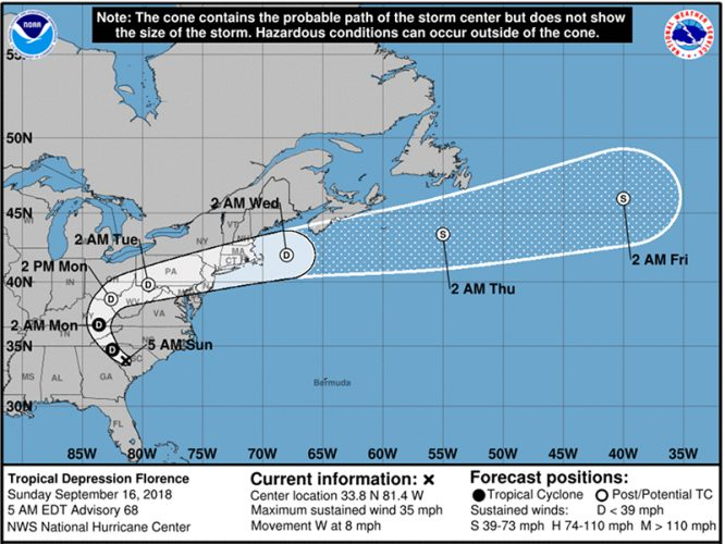 NOAA Map Showing the Track of Hurricane Florence (Image derived from the NOAA website)