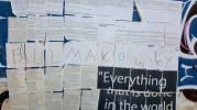 Graffiti of the Communist Manifesto, the bible and personal quote, Athens. Photo Fari Bradley