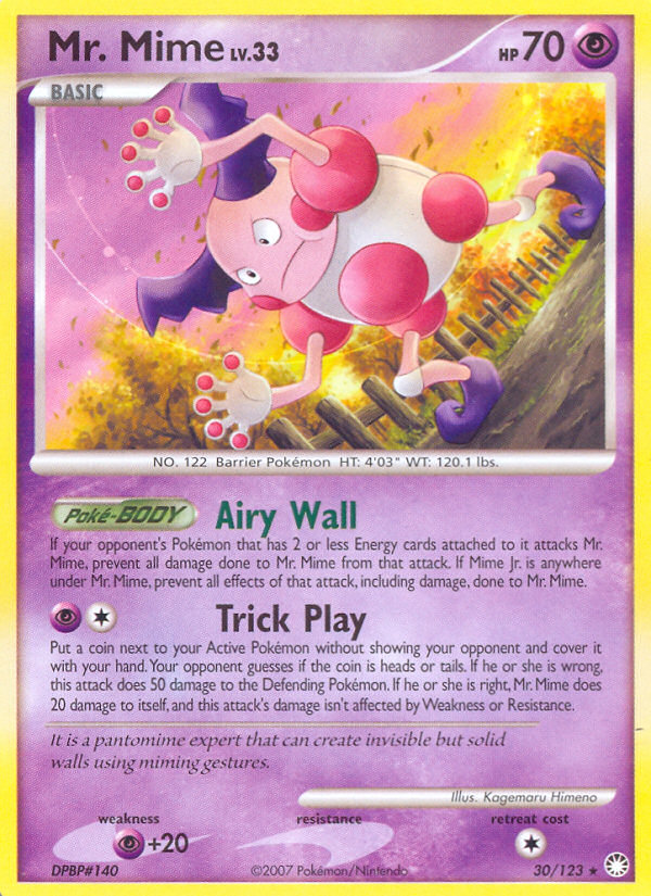 Mr. Mime Mysterious Treasures MT 30 Pokemon Card
