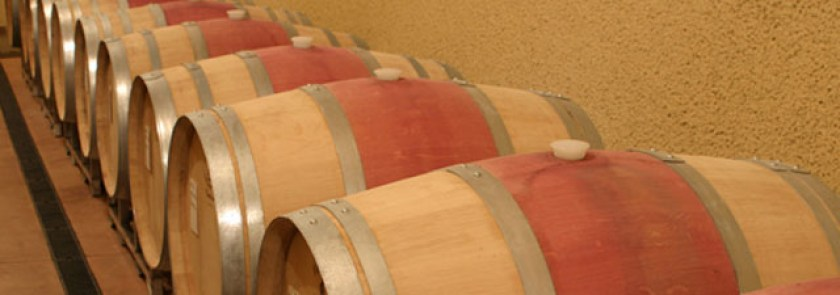 barrels in the Six Sigma wine cave