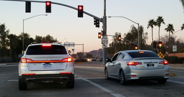 My friend Brock snapped this cool picture of Tyson (Acural ILX) and me in the Lincoln at the lights.