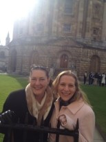 Emmie and Andi at the Faculty Library in Oxford