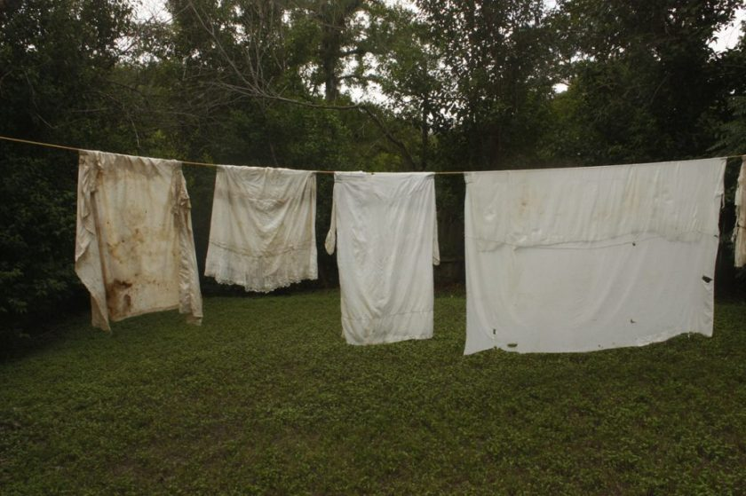 Clothing and fabric lé. Givens found while in Texas appear in all chapters of the project, 2015. Photo courtesy of the artist.