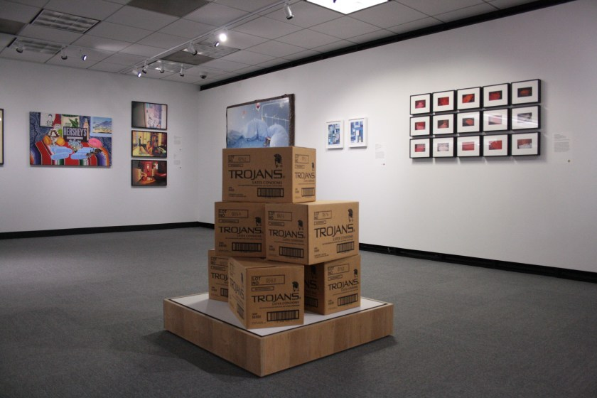 Installation view. (Foreground) Trojan Boxes by Adam Rolston; (Background, left to right)Joey Terrill, Kia Labeija, Frank Moore, and Dean Sameshima.