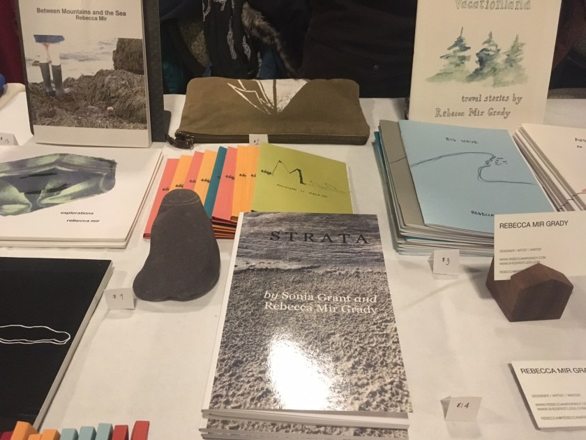Items from Rebecca Mir Grady's table at the Chicago Art Book Fair.