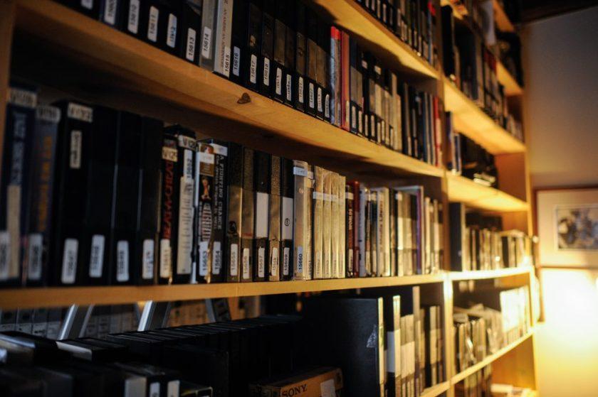 The image shows several shelves of Media Burn footage. Image credit: William Camargo.