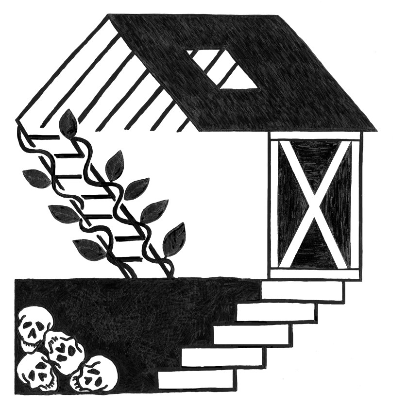 "A hand-drawn illustration by Jenny Schriber that accompanies the chapbook, ""The Attic, The Basement, The Barn."" The drawing depicts, using bold lines of black marker on a white page, a simple three-level structure in a sort of cross-section. The basement has four skulls in the corner and its stairs to the ground floor end at a door with an x-frame. Leafy vines wrap around a ladder that leads to an attic- or loft-like space that has a skylight and visible rafters. Courtesy of Jenny Schriber."