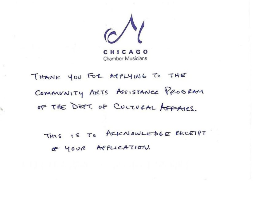 Handwritten confirmation of receipt of DCASE application. Image courtesy of the artist.