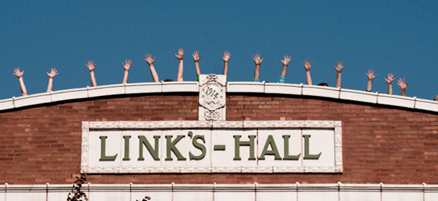Sign on the old Links Hall building before relocation. Image courtesy of wbez.org