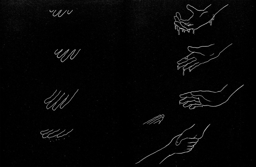 This is a two-page spread, with each page divided into four narrower horizontal panels. Both pages are filled by the artist's illustrations: white outlines drawn against a black background that has also some white specks. On the left page, a right hand reaches progressively farther into each panel from the top of the frame. In the panels on the right page, the hand curls and straightens its fingers, from which something drips; reaches toward the bottom of the frame, from which another right hand emerges; then grasps the other hand.
