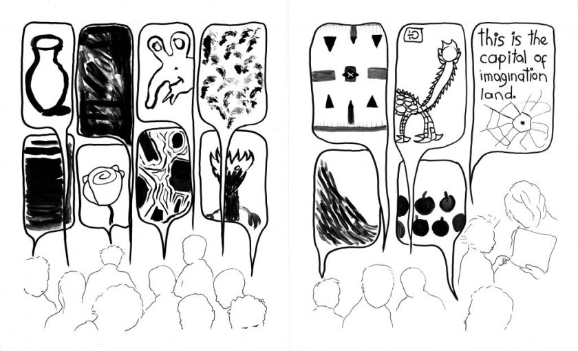 "This is a two-page spread, together showing a continuous scene, with black drawings against a white background. Toward the bottom of the frame are outlines of several children's heads, with their thought bubbles taking up most of each page. The thought bubbles depict a range of images with varying levels of detail. Some are concrete and perhaps recognizable images (such as a vase, a rose, fruits, alien- and dragon-like creatures, a cartoon character) and others are abstract (a swirl of black, layered stripes, gestural dabs, a set of symmetrically arranged marks, a slope of dash marks, an asymmetrical lined shape stretching within its bubble). The last thought bubble is connected to a child standing next to an adult and pointing at a paper; the thought bubble shows a spider web and includes the words ""this is the capital of imagination land"" in a child's handwriting."
