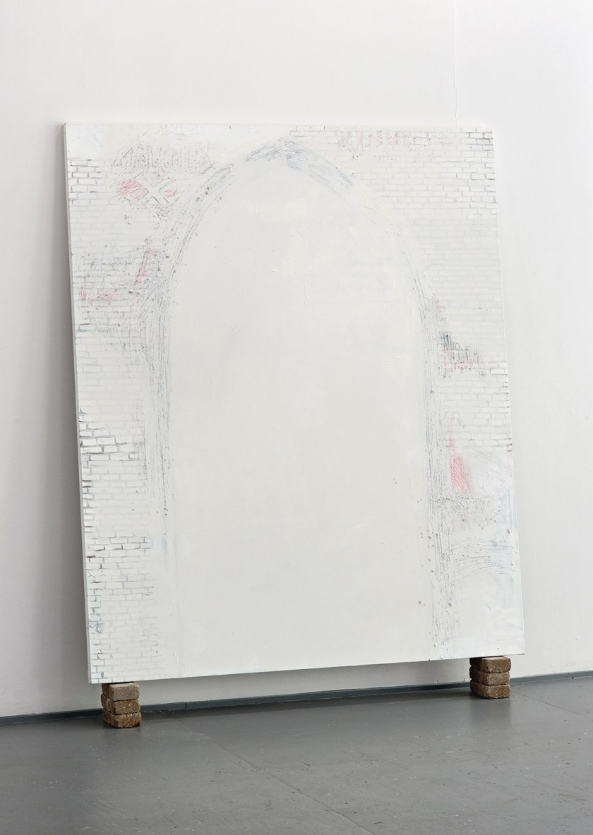 Panel from Whitewashed: All of Mankind by Haerim Lee. A large textured white canvas shows the outline of an arch. The white paint inside the arch is thicker and more opaque. The area surrounding the arch replicates the texture of whitewashed brick with paint starting to flake away. Image courtesy of Greg Ruffing.