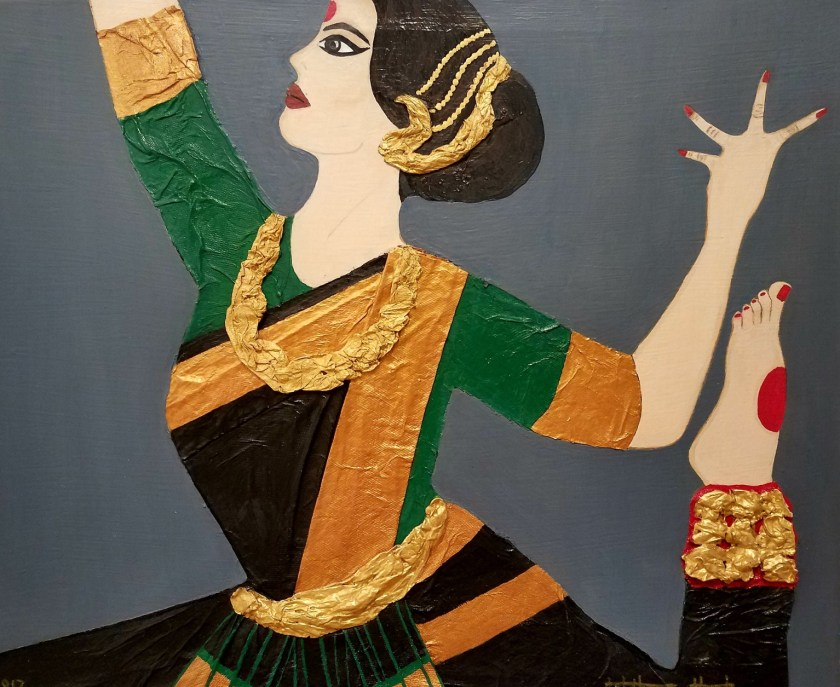 "Grishma Shah's ""Devadasi,"" courtesy of the artist and Chicago Public Library. Image description: a collage illustration of a dancer in profile. She gestures with her hands and one foot kicks up and into the frame. She is wearing a black and green sari trimmed with gold and gold jewelry."