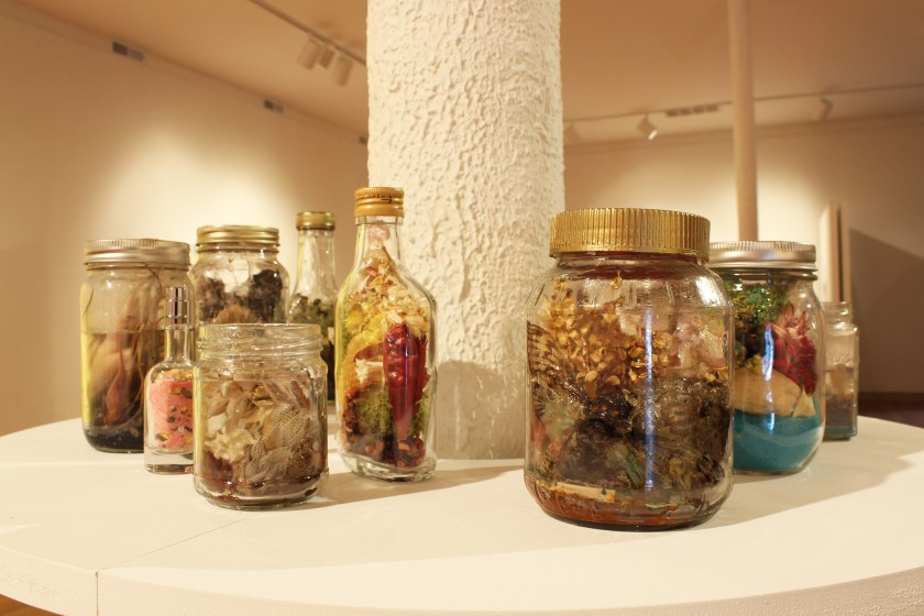 Rhonda Wheatley, Elixir Stills and Cure Bottles, 2017. Activate by gazing into jars and bottles. Gazing must be 100% voluntary. Healing intent and energy, incantations, secret herbs, sea horses, cicadas, snake bones, snakeskin sheddings, moss, dried flowers, sea shells, sand, wasp nests, succulent plants, various crystals (including amber, mica flakes, and pyrite), and more. Fourteen jars and bottles of assorted sizes rest on a round shelf encircling a column in the middle of the gallery. The clear vessels are filled with assorted organic materials, sand, and resin. Photo courtesy of the Ukrainian Institute of Modern Art.