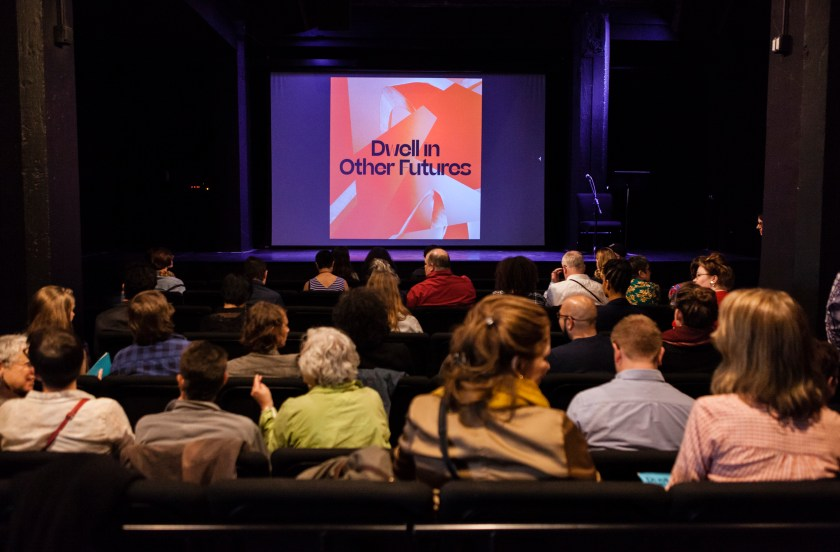 "Theater during ""The Autumnal City: Conversations with Samuel R. Delany,""presented as a part of Dwell In Other Futures: Art / Urbanism / Midwest. .ZACK, St. Louis. April 27, 2018. Photo by David Johnson"