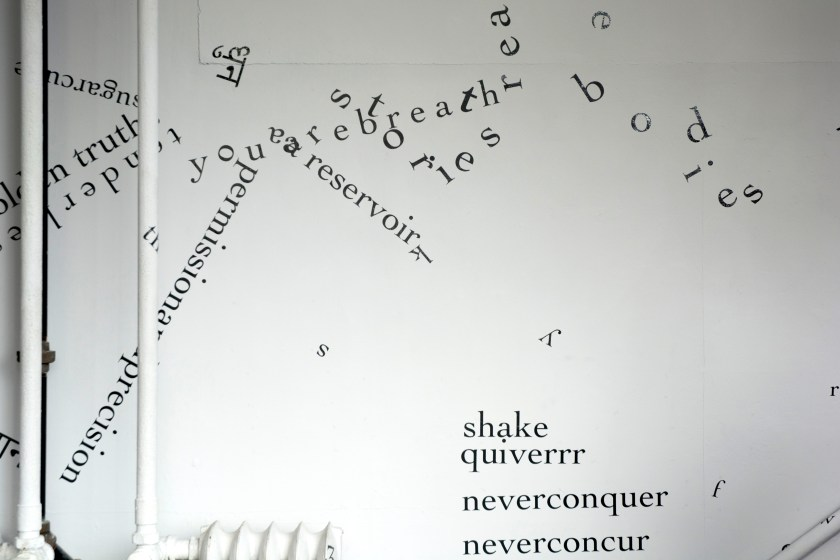 "The photograph shows parts of a gallery wall, pipe, radiator, and railing — all white — and part of a black pipe. Black vinyl letters are installed directly onto the white surfaces, in the form of words and phrases in English and Hindi. Text appears in different sizes and spatial orientations (e.g., right-side up, upside-down, diagonal, vertical, and organic shapes), with some words/phrases expanded in space, condensed, or intersecting with other text. In the bottom right are the words ""shake,"" ""quiverrr,"" ""neverconquer,"" and ""neverconcur."""