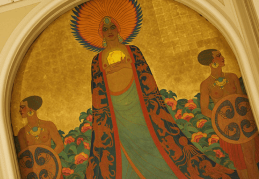 Caption: Mural of Califia from Room of the Dons, Sacramento, California