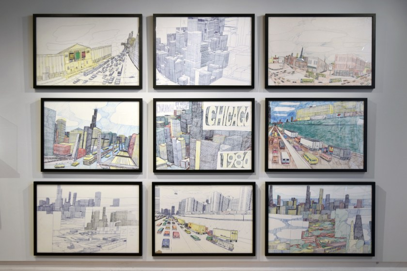 Wall of Wesley Willis works in the front gallery of Intuit.