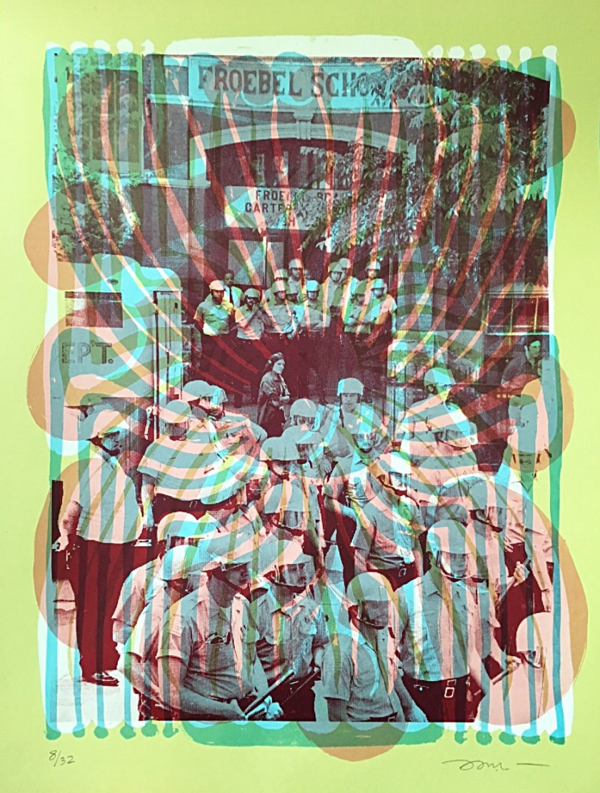 "Image: Nicole Marroquin, After the Takeover at Froebel, 1973, silkscreen on paper, 18x24"", 2017. Swirling lines and shapes in blue, orange, and green ink are layered on top of an archival image of police officers assembled outside of Froebel School. Image courtesy of the artist."