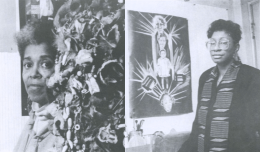 Black and white portraits of Marva Lee Pitchford Jolly standing slightly behind a textured artwork (left) and Felicia Grant Preston standing next to a large painting hanging on the wall (right), from the catalogue for the exhibition Divining: Sapphire & Crystals at Artemisia Gallery in February 1992.