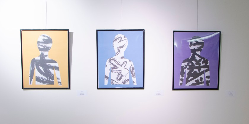 "Three works by EAC member Dan Ossandon ""Depression"", ""Anxiety"" and ""ADHD"" All three are framed giclee prints."