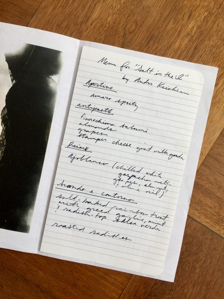Image: Handwritten menu on paper for the dinner held in conjunction with 'Salt in the I' by Andre Keichian, Photo by Tamara Becerra Valdez.
