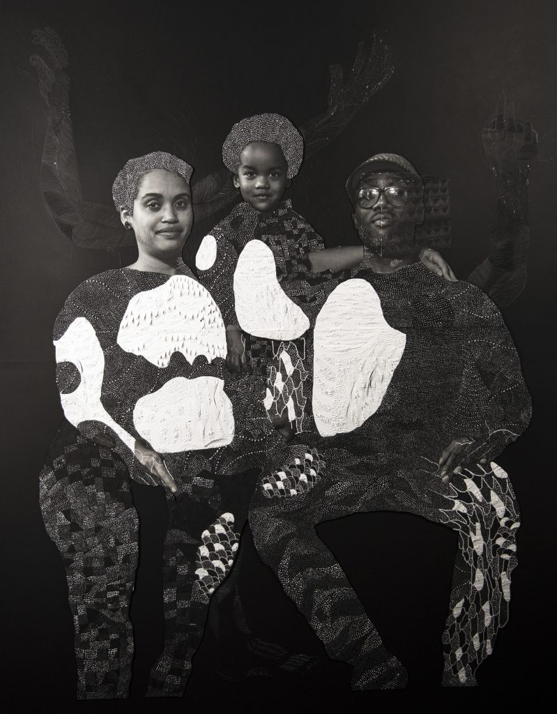"Image: Nate Lewis, ""Sankofa,"" 2018. A photo collage. A family is seated and looks out at the viewer. A woman is on the left, a man on the right, and a child in the middle. The image is black and white. The paper is textured to create patterns in the place of their clothes. In the background, three arms that are delicately textured and patterned reach up toward the top of the image. Image courtesy of Smithsonian Institution Traveling Exhibition Service and the artist."