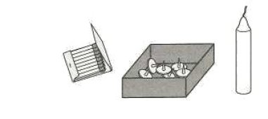 Image: a grayscale illustration of matches, a box of tacks, and a candle, demonstrating Duncker's Candle Problem.