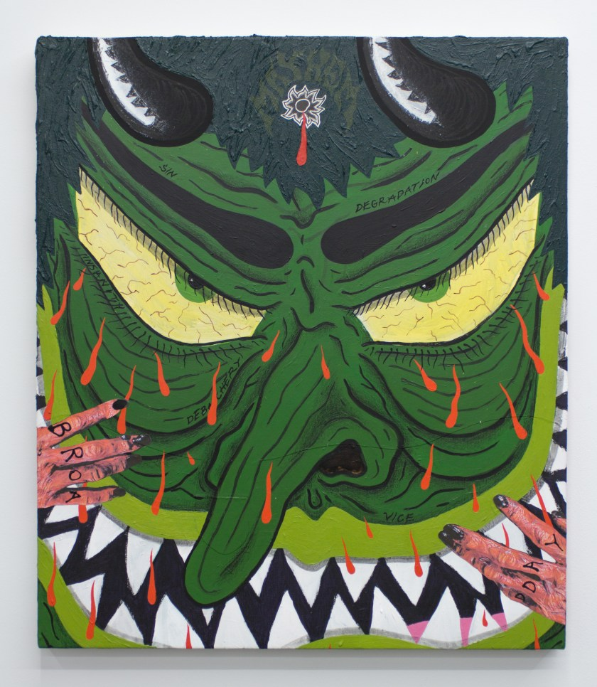 """Image: Mayhem, 2020 by Cameron Spratley, acrylic, gouache, ink, molding paste, spray paint, cut paper, collage, vinyl, colored pencil, and china marker on canvas 30 x 26"""". The painting shows a green-colored face referencing a Japanese mask with a hand holding the face from the bottom and the left side of the composition. There is a bleeding bullet wound on the forehead. Image courtesy of M. LeBlanc."""