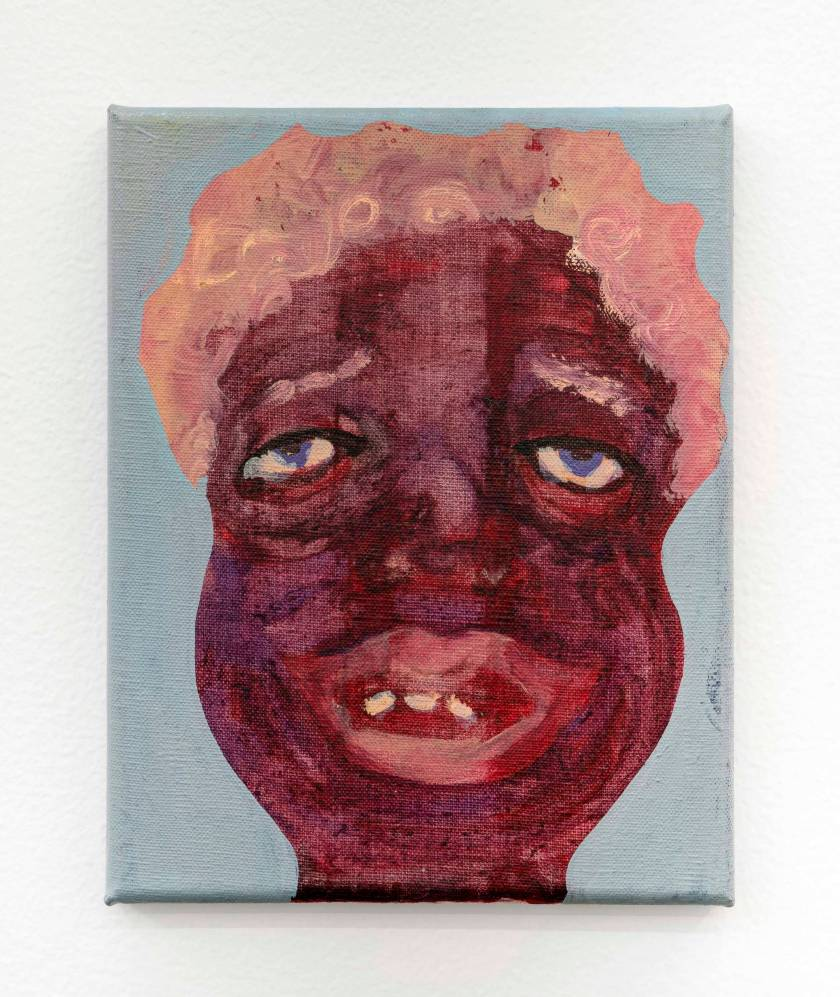 """Image: Tethered To You #1 by February James, 2020, 10 x """", oil on canvas. The portrait of a figure with deep brown and purple skin-tones is complimented by short, curly cotton-candy pink colored hair. Their eyes and mouth are partially open, revealing three teeth through a partial smile and an expression of longing. Image courtesy of the artist and Monique Meloche Gallery."""