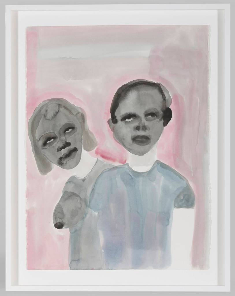 """Image: It Takes More Than One Tool To Build A House by February James, 2020, 30 x 22"""" watercolor and ink on paper. The upper bodies of two ghostly figures are rendered in gray tones of watercolor. They sit atop a pink background. The female figure on the left peeks out from behind the male as they both gaze at the viewer. Image courtesy of the artist and Monique Meloche Gallery."""